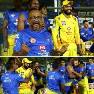 CSK Players happy after winning the game against KKR on 9 April 2019