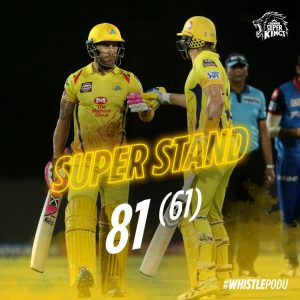 CSK First wickets partnership of 81 from watson and du plessis in qualifier 2