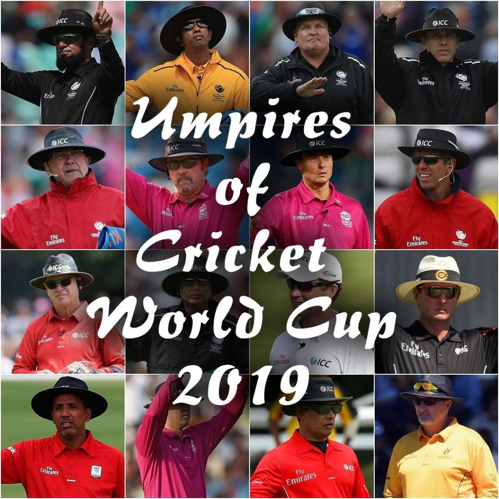 ICC Cricket world cup 2019 Umpires