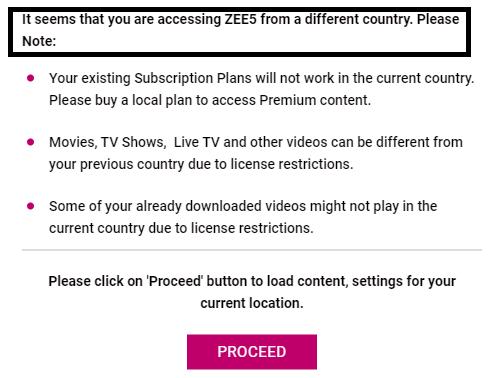 Zee5 Outside India error geo restricted