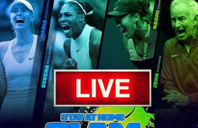 Stay At Home Slam Virtual All Star Tennis Tournament live free tv channel