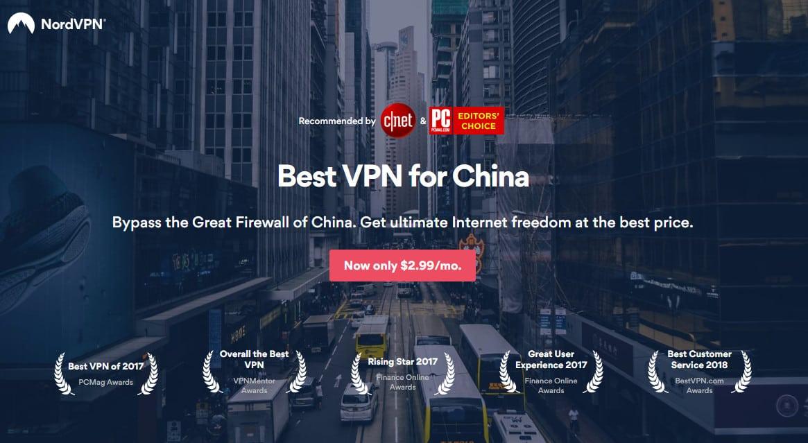 NordVPN best vpn for china