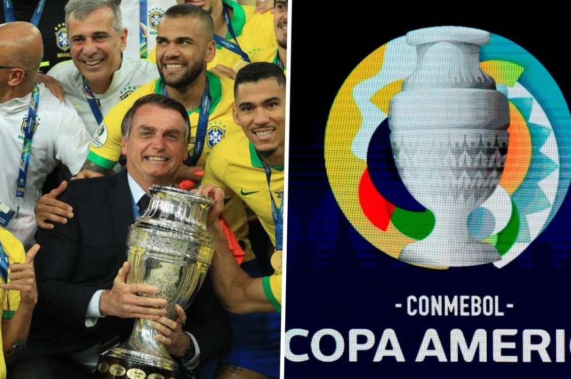 copa america trophy with players